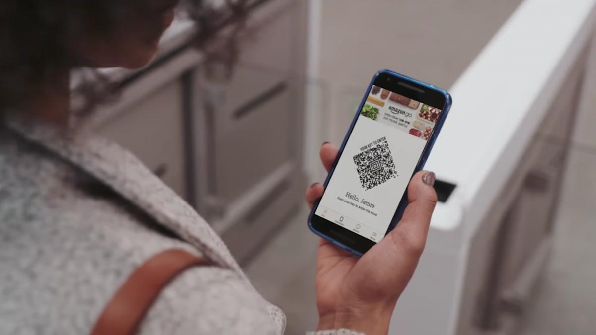Everyone who shops needs an Amazon Go app. You scan a QR code when you walk in.