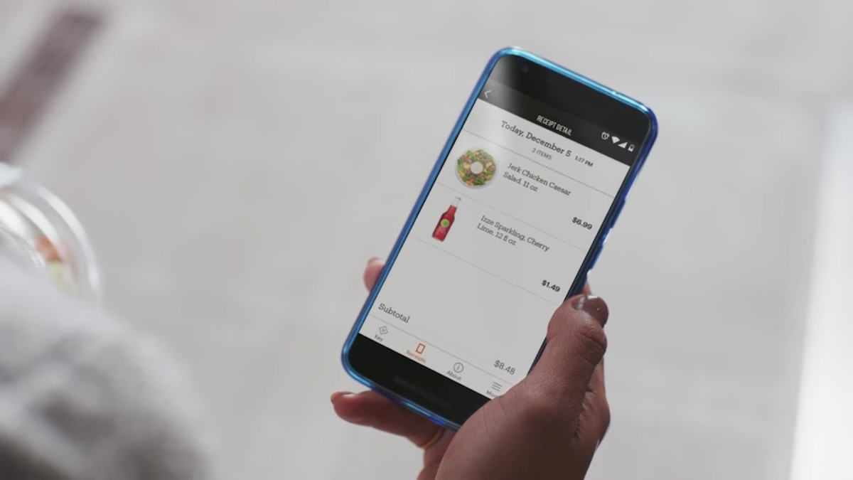 The store will automatically charge the credit card on your Amazon account and send a receipt to your phone.