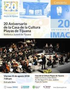 Sinfónica Juvenil de Tijuana en el 20 Aniversario de la Casa de Cultura Playas @ Casa de Cultura Playas de Tijuana   Tijuana   Baja California   México