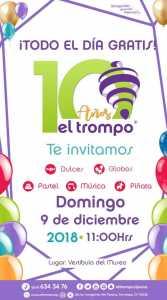 Primer corte de pastel 10o aniversario de El Trompo en Tijuana