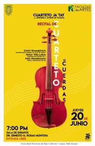 Cuarteto Ja´Tay, Recital de cuarteto de cuerdas en Ensenada @ Facultad de Artes Ensenada