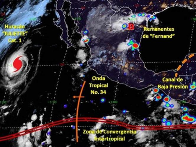 'Juliette' se debilita a categoría 1 en el Pacífico sin afectar México