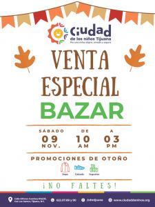 Ciudad de los Niños invita a la venta especial de Bazar con promociones de otoño-invierno