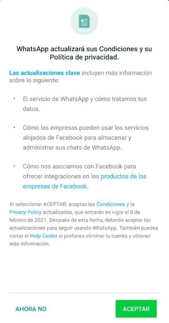 Anuncio de WhatsApp que están recibiendo los usuarios.